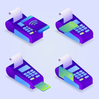 Metodi di pagamento terminali pos, pagamento online. conferma il pagamento con carta di credito, telefono cellulare. isometrico