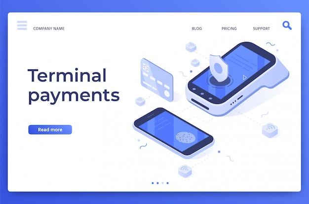 Pagamenti terminali pos. trasferimenti di denaro, servizi di pagamento tramite smartphone e illustrazione digitale di pagamento