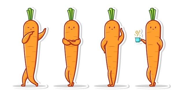 Posa carino del set di carote