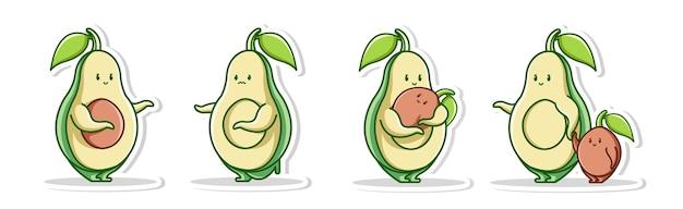 Posa il concetto di famiglia carino del set di avocado