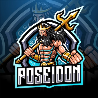 Poseidon esport logo design mascotte con arma tridente