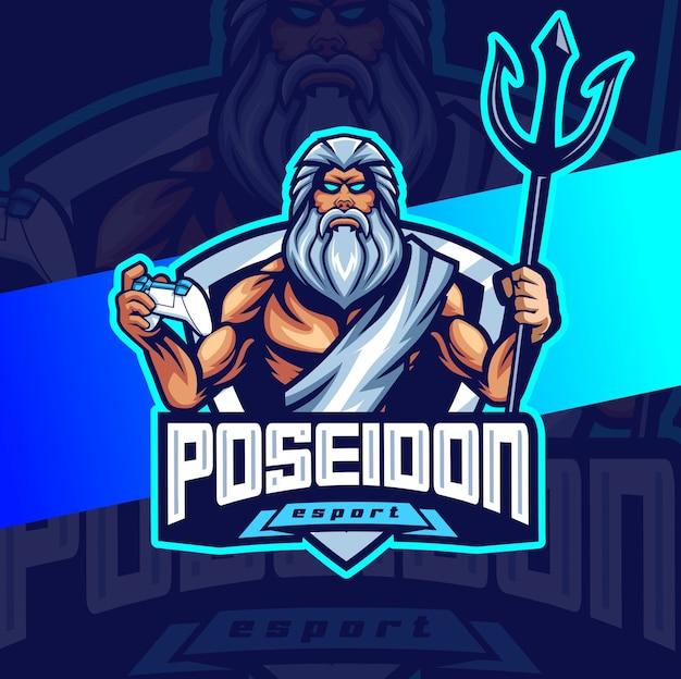 Poseidon dio del mare mascotte esport logo design