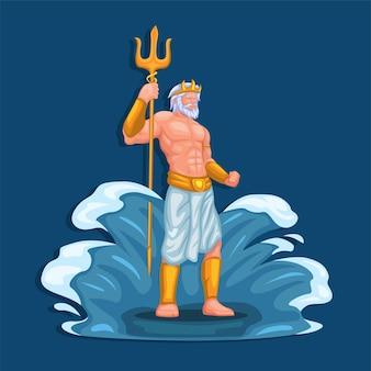 Personaggio di poseidon dio del mare e dell'acqua. vettore dell'illustrazione della mitologia del dio greco antico