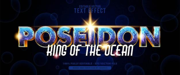 Poseidon, heroes oro lucido e effetto testo blu, adatto per titoli di film, poster e prodotti di stampa