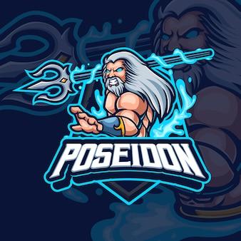 Design del logo di gioco esport mascotte poseidon