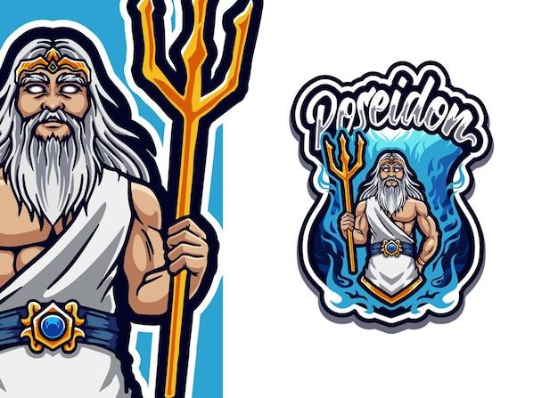 Illustrazione di esport di logo della mascotte di poseidon
