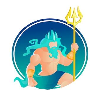Poseidone indossa corona e tridente. god of sea