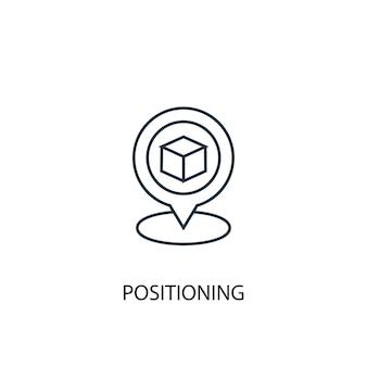 Icona della linea del concetto di posizionamento. illustrazione semplice dell'elemento. disegno di simbolo di struttura del concetto di posizionamento. può essere utilizzato per ui/ux mobile e web