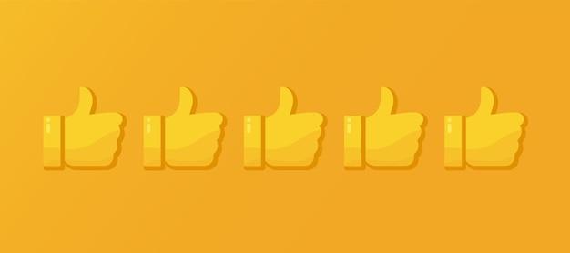 Feedback positivo pollice in su buona recensione