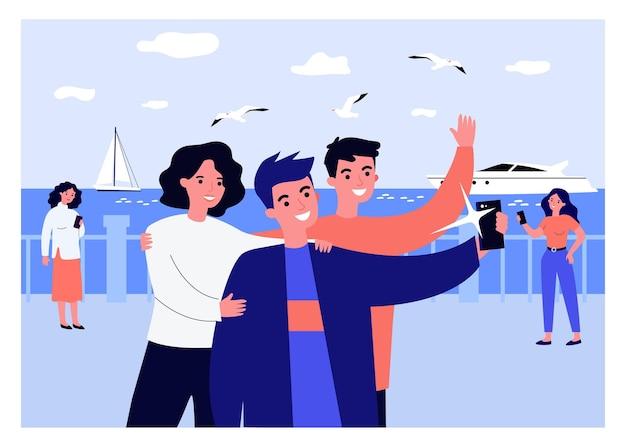 Amici positivi che prendono selfie sul lungomare. smartphone, yacht, illustrazione vettoriale piatto gabbiano