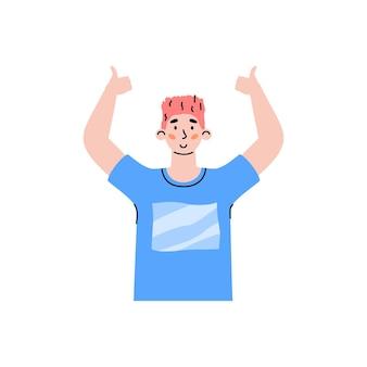 Personaggio maschile positivo in alto con le mani che indica il segno ok un'illustrazione vettoriale piatta