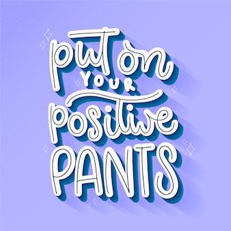Concetto di lettering mente positiva Vettore Premium