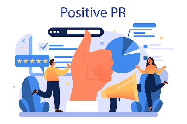 Concetto di pubbliche relazioni positivo