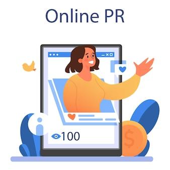 Servizio o piattaforma online di pubbliche relazioni positivo. pr in linea. illustrazione vettoriale piatta