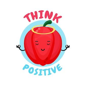 Pensiero positivo, carino peperone che fa meditazione