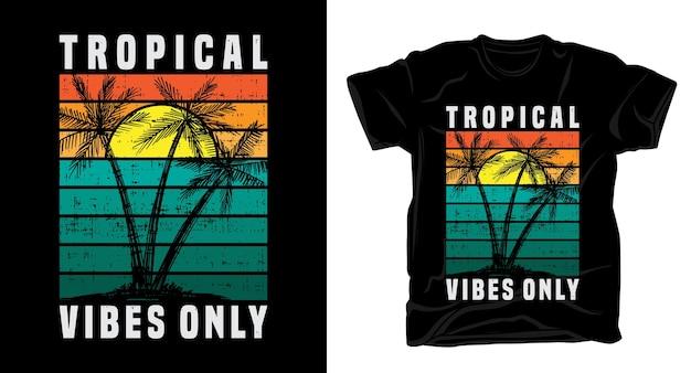 Tipografia di vibrazioni positive con palmo per il design di t-shirt
