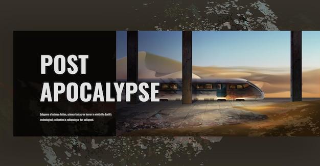 Scena post apocalisse che mostra città in rovina
