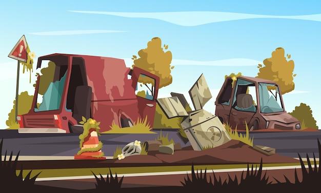 Post-apocalisse con auto distrutte sulla strada dopo un'azione militare cartone animato