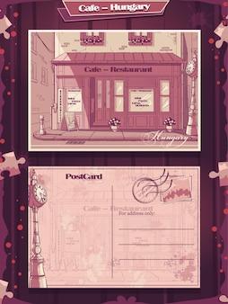 Fondo della cartolina postale caffè in stile pin-up in ungheria.