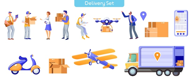 Set di illustrazioni piatte post consegna