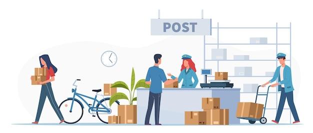 Ufficio di consegna postale. postini, corriere con camion e persone con scatole e lettere nella ricezione della posta, ricezione dell'ordine o pacco, buste del francobollo del servizio di posta illustrazione vettoriale piatto del fumetto