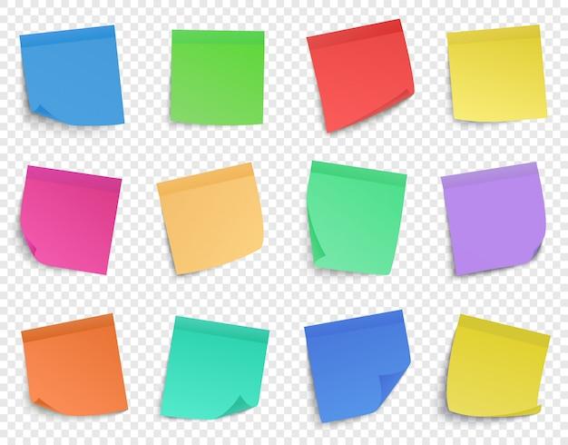 Post it pin nota. note di promemoria di carta, appiccicosi promemoria di fogli di carta, set di icone di note adesive colorate. nota di carta colorata illustrazione, promemoria adesivo