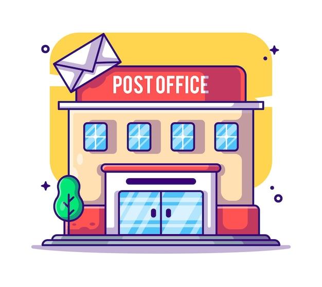 Illustrazione del fumetto di edificio per uffici postali