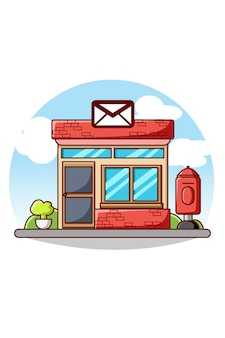 Illustrazione del fumetto della costruzione dell'icona dell'ufficio postale