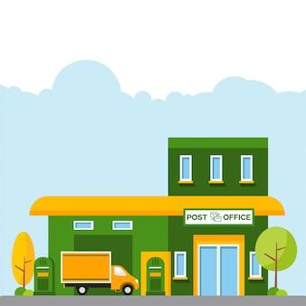Illustrazione dell'ufficio postale con un camion della scatola davanti