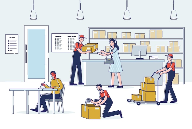 Interno dell'ufficio postale con persone che inviano e ricevono posta e corrieri che spediscono pacchi.