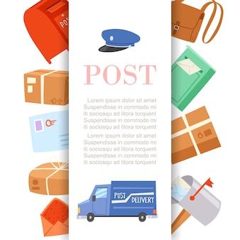 Manifesto di servizio di consegna delle lettere e dei pacchi dell'ufficio postale con l'illustrazione del fumetto della carta postale, del cappuccio dei postini e del camion. Vettore Premium
