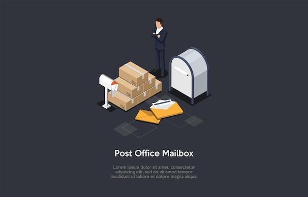Illustrazione della cassetta postale dell'ufficio postale nello stile 3d