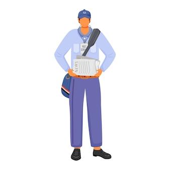 Operaio maschio dell'ufficio postale nell'illustrazione di colore piatto uniforme americana. l'uomo distribuisce notizie. servizio postale. porta giornali giornaliero. personaggio dei cartoni animati isolato paperboy su priorità bassa bianca