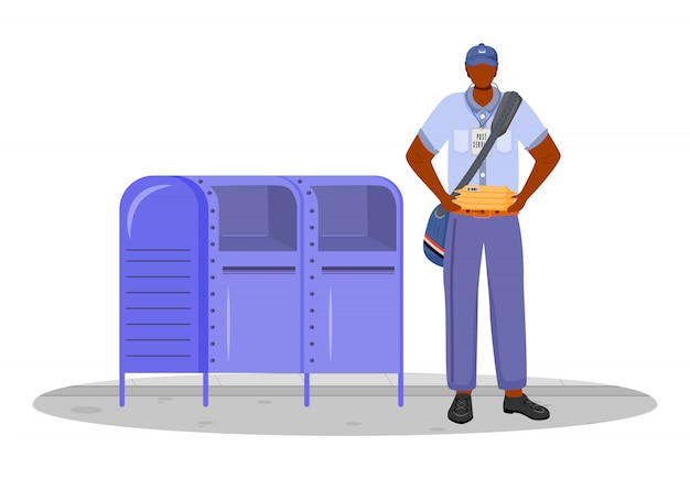 Illustrazione di colore del lavoratore di sesso maschile dell'ufficio postale. l'uomo afroamericano distribuisce i pacchi. consegna del servizio postale. mettere le lettere nel personaggio dei cartoni animati della cassetta postale su priorità bassa bianca