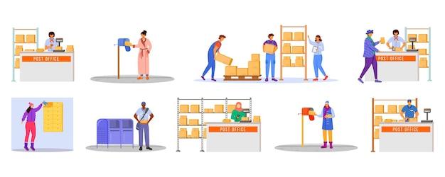 Set di colore piatto di lavoratori e caricatori di sesso maschile dell'ufficio postale.