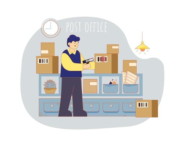Ufficio postale. il postino fotografa il codice a barre sugli scaffali di imballaggio con uno scanner.