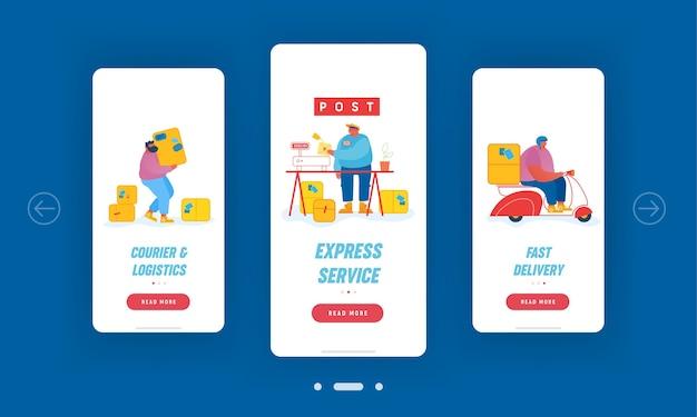 Set schermo a bordo pagina app mobile servizio ufficio postale