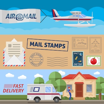 Le insegne orizzontali di servizio postale messe con i francobolli del trasporto aereo e la consegna veloce hanno isolato l'illustrazione di vettore