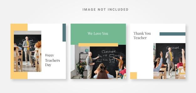 Modello di social design per i media del giorno dell'insegnante post