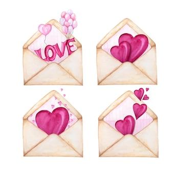 Set di buste postali per san valentino con cuori che volano via.