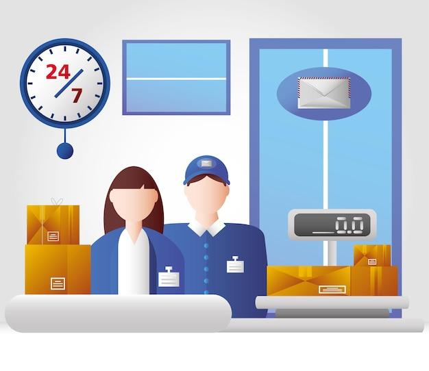 Dipendenti del servizio di ufficio postale con l'illustrazione di vettore della busta della posta dei pacchetti della bilancia