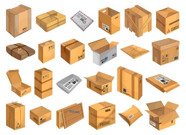 Icona stabilita del fumetto del pacco postale. pacchetto di illustrazione su sfondo bianco.