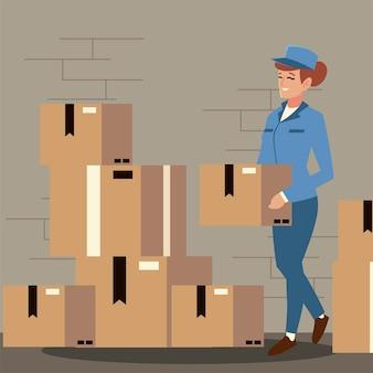 Operaio femminile di servizio postale che trasporta l'illustrazione della scatola del cardbord Vettore Premium
