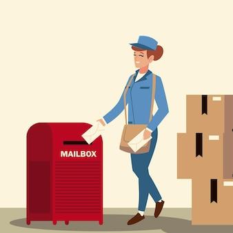Lavoratrice di servizio postale con illustrazione di buste cassetta postale e scatole di cartone