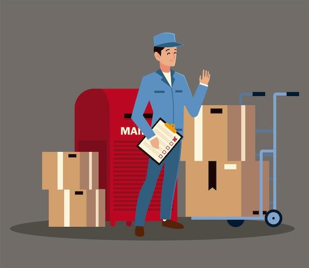Postino maschio di servizio postale con la lista di controllo della cassetta postale e l'illustrazione delle scatole