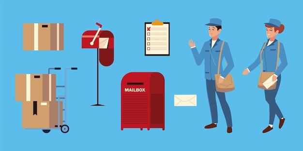 Servizio postale uomo e donna lavoratore, scatole di buste delle cassette postali