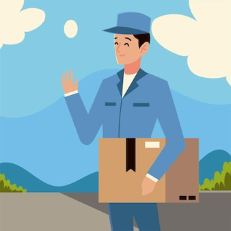 Carattere del postino di servizio postale che trasporta l'illustrazione della scatola di cartone
