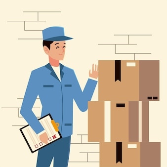 Carattere di postino di servizio postale con lista di controllo e pila di scatole illustrazione Vettore Premium