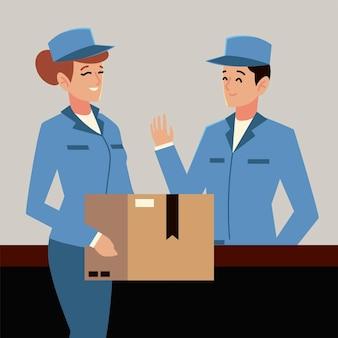 Postino di servizio postale e operaia con illustrazione di caratteri di scatola Vettore Premium
