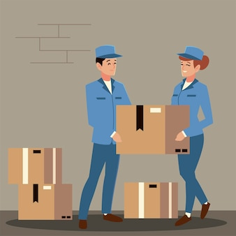 Postino di servizio postale e lavoratrici con pila di scatole illustrazione